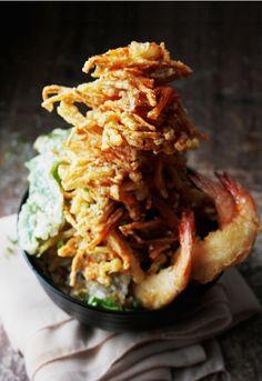 Tempura Donburi Shrimp over Rice, Dinner