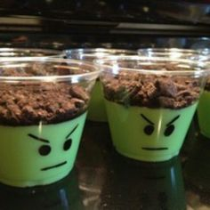 Fun idea for homemade pudding cups - looks like lego faces - but you could use stickers or a label to create a different look.
