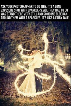 Beautiful long exposure sparkler wedding photo. So cool!