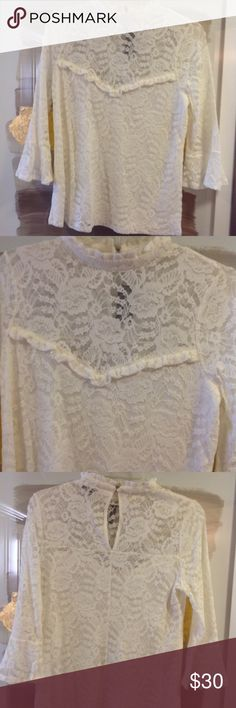 Express Lace Detailed Shirt Cream laced high neck shirt with bell capped sleeves Express Tops Blouses