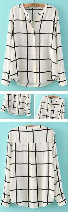 White Long Sleeve Checks Plaid Loose Blouse