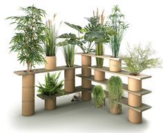 Végétagère, a hybrid plant trellis shelving system composed of modular wood shelves with openings to accept stackable vegetable fiber #garden pots. #containergardening
