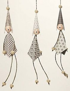 A creative place for Cards, Dies and Paperdesign: Viel Spaß beim nachmachen!Lovely hanging girls from Vivi Gade Design Paper with arms and legs made from paper yarn. Crafts For Girls, Diy For Girls, Diy And Crafts, Arts And Crafts, Paper Crafts, Diy Christmas Ornaments, Christmas Art, Christmas Decorations, Xmas