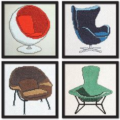 Set of 4 Modern Chairs Cross Stitch Pattern Instant Download