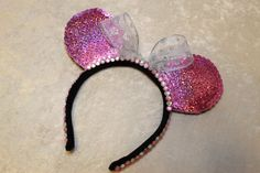 Pink Holographic Sequin Minnie Mouse Ears on Etsy!
