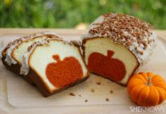 Peekaboo pumpkin pound cake -so cute! Peekaboo pumpkin pound cake with brown butter pecan icing Ingredients: For the pound cake 1 (14-ounce) box pumpkin bread mix 1 (16-ounce) box pound cake mix Orange food coloring For the icing 8 tablespoons (1 stick) butter 3-1/2 cups powdered sugar 3 tablespoons evaporated milk 1 teaspoon van