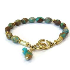 Turquoise Bracelet Gold Jewelry Gemstone by jewelrybycarmal, $45.00