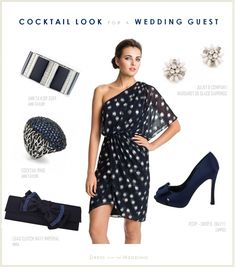 Dress For A Wedding: Navy One Shoulder Dress.This ensemble is perfect for a cocktail reception, or a semi-formal look for an afternoon or evening fall wedding. Blue Wedding Dresses, Wedding Attire, Bridesmaid Dresses, Wedding Navy, Bride Dresses, Party Dresses, Dress Up Outfits, Fashion Dresses, Dress Shoes
