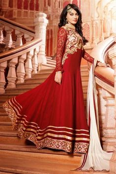 Presenting Surabhi Jyoti Suit-Red Faux Georgette #Anarkali #Suit with Embroidered and Lace Work. Order Now@ http://zohraa.com/salwar-kameez/suits-dresses/anarkali/red-faux-georgette-suit-diffu1418cat33338.html Rs. 4649