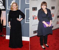 Adele a la izquierda en 2012, a la derecha en 2008.
