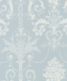 Josette Seaspray  (3568677) - Laura Ashley Wallpapers - An ornate and elegant damask, featuring glamorous chandeliers and romantic rose bouquets in the stylish combination of white and pale blue. Other colour ways available. Please request a sample for true colour match.