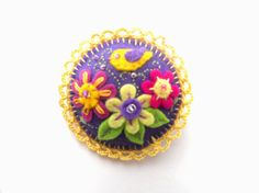 Felt floral brooch with a bird Embroidered by bboutiquebeauties, $15.00