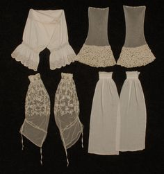 Four Pair Under-Sleeves: two 1860's,  two ca. 1900, two cotton, one with eyelet band and ruffle, one lawn with broderie anglaise, two net, one embroidered with floral sprays, one bell shaped with wide trim of Irish crochet.