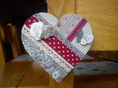 Handmade heart made with MDF, fabrics, lace & ribbons