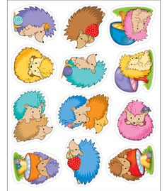Carson Dellosa Stickers, Happy Hedgehogs Shape Die-cut shapes Acid- free and lignin free 72 count Happy Hedgehogs collection Happy Hedgehog, Hedgehog Craft, Micro Creche, Impression Etiquette, Cubby Tags, Lacing Cards, Scrapbook Stickers, Classroom Activities, Preschool