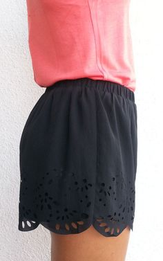 Love the eyelet detail in these shorts. Scalloped Shorts - Black @Meredith Dlatt Dlatt Dlatt Kirkland Thomas