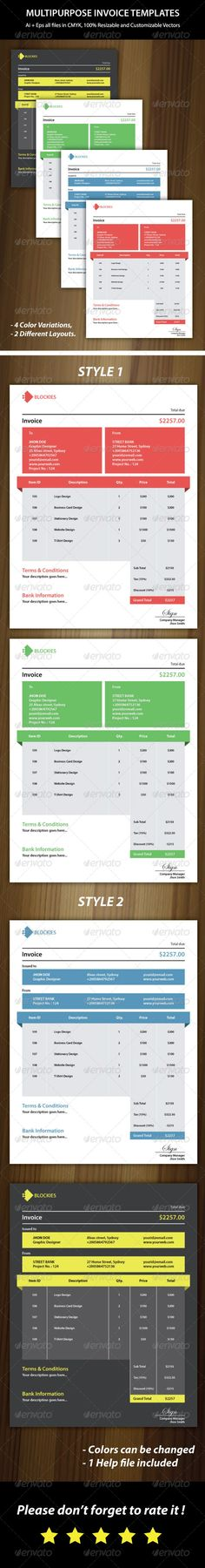 Corporate Invoice Ai illustrator, Business proposal and Cv template - invoice page
