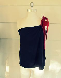 Wobisobi: Red Velvet Ribbon, One Shoulder Shirt. DIY.