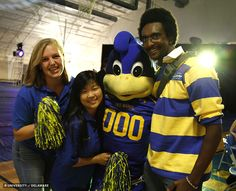 UD Student Alumni Ambassadors with Baby Blue at the 2014 Homecoming Pep Rally!