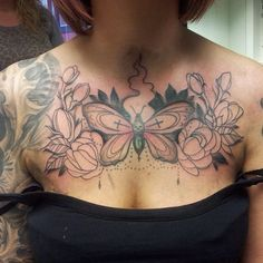 Outline flowers and moth tattoo on girl chest : moth tattoos. Side Tattoos, Foot Tattoos, Forearm Tattoos, Small Tattoos, Sleeve Tattoos, Flower Tattoo On Side, Flower Tattoo Shoulder, Chest Tattoo Stencils, Foot Henna