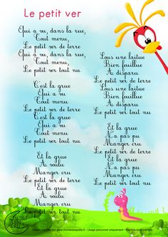 Paroles_Le petit ver de terre French Teaching Resources, Teaching French, Teaching Kids, Kids Learning, French Education, Kids Education, Love French, Learn French, French Poems