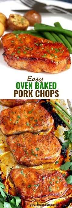 These Oven Baked Pork Chops are seasoned with simple spices and then baked to perfection. This baked pork chop recipe produces succulent, tender, juicy and flavorful pork chops every time! via Lemon Blossoms Easy Healthy Recipes, Easy Dinner Recipes, Easy Meals, Yummy Recipes, Healthy Food, Simple Recipes, Healthy Dinners, Baking Recipes, Breakfast Recipes