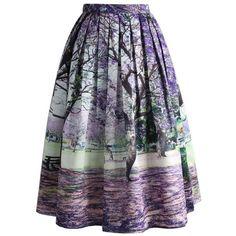 Chicwish Under the Jacaranda Printed Midi Skirt (210 MYR) ❤ liked on Polyvore featuring skirts, bottoms, multi, blue midi skirt, trumpet skirt, calf length skirts, blue skirt and flower skirt