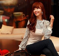 Spring Blouse | Slim Fit Bow Collar Striped Puff Sleeve Spri… | Flickr