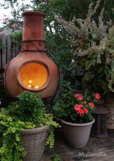 Twinkle lights in a chiminea