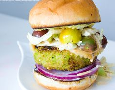 """7 vegan burger recipes. Note to self: the secret to staying vegan is cook plenty of interesting things that make you drool and forget about meat and cheese. Fiesta black bean burger topped with slaw, green bean panko breaded """"fries"""" and a pina colada coconut milk shake? What part of that sounds boring?!"""