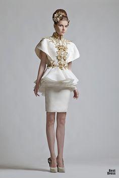 Dress and Headpiece by Krikor Jabotian Spring 2012