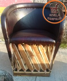 """This handmade Equipal """"rustic leather"""" chair is handcrafted in Zacoalco de Torres Jalisco. Made from tanned pigskin and Mexican cedar strips this chair is very durable and comfortable. Higher seat hei"""
