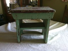 antique wooden bench. Early Antique Primitive Old Green Painted Wood Small Milk Stool Bench Wooden M