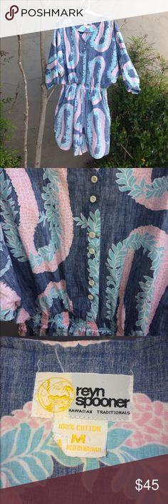 "VINTAGE REYN SPOONER HAWAIIAN PRINT ROMPER!! Super cute romper by REYN SPOONER- pretty blue& pink ""reverse print ""- elastic waistband/ buttons up front/ elastic on sleeves two front side pockets/5.5"" inseam/100% cotton/ 35"" long! In great shape! SZ M REYN SPOONER Pants Jumpsuits & Rompers"