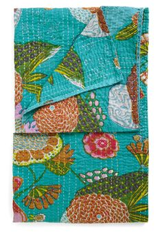 Chill in the Garden Throw by Karma Living - Green, Multi, Multi, Floral, Quilted