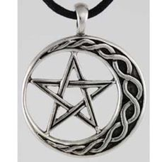 Celtic Knot Crescent Moon Pentacle Pentagram Star Pewter Amulet Necklace Pendant | eBay
