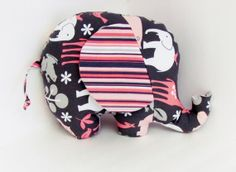 Pink and Grey Stuffed Elephant Baby Toy by BrightEyedOwl on Etsy, $20.00
