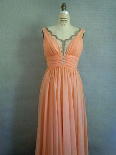 Peach wedding dress, by SararaVintage on etsy.com | The Merry Bride