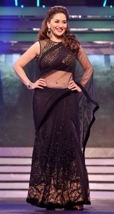 madhuri dixit black saree lovely