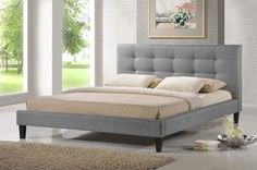 Quincy Gray Linen Platform Bed - Queen Size | Affordable Modern Furniture in Chicago