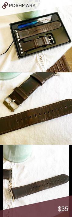 """APPLE WATCH Genuine Leather Band 38mm * WATCH SIZE: Compatible with Apple Watch 38mm ALL Models, including: Apple Watch Series 2 / Series 1 / Edition / Nike+ / Hermes (Not for Apple Watch 42mm). * WRIST SIZE: Fits 5.94""""-8.11"""" (151mm-206mm) wrist, it can be men's or women's, comfortable touch feeling on your wrist, simple but attractive. * GENUINE LEATHER: Crafted from genuine cowhide leather with a  retro appearance.NOTICE:The natural crack texture will appear after bending the watch band…"""