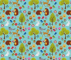 Woodland Love fabric by piratesbootyk on Spoonflower - custom fabric
