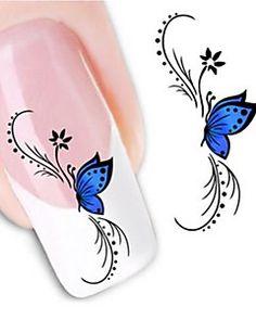 1 sheet Water Transfer Nail Art Sticker Decal Blue Butterfly Design Manicure Tips DIY Nail Foils Decorations Butterfly Nail Art, Flower Nail Art, Blue Butterfly, Butterfly Pattern, Butterfly Flowers, Butterfly Birthday, Butterfly Design, Butterfly Print, Nail Art Stickers
