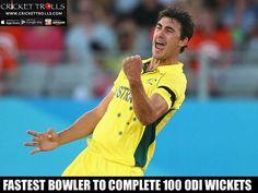 #AUvsSL #SLvsAUS #1stODI  Mitchell Starc completes his 100 wickets in ODI's - http://ift.tt/1ZZ3e4d