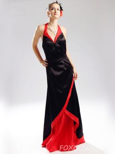 satin red-black halter floor length prom dress low back http://www.foxgown.com/satin-red-black-halter-floor-length-prom-dress-low-back-707.html