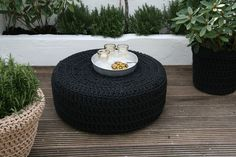 These crocheted poufs from Ineke Visser are made from UV resistant polyester yarn that is reportedly as soft as cotton.