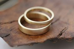 14k gold flat wedding band set  satin finish 2 rings by CommitMe, $495.00