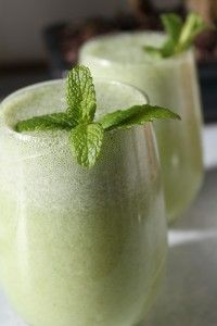 A fresh glass of mint lemonade