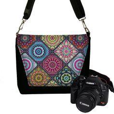Kleurrijke Camera geval DSLR Camera tas portemonnee, Boheemse tas, Cross Body tas, Messenger Bags voor vrouwen, met ritssluiting, Mandala RTS