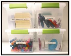 Use see through totes to help keep everything organized in the classroom. Click through for more great tips to organize your office supplies!